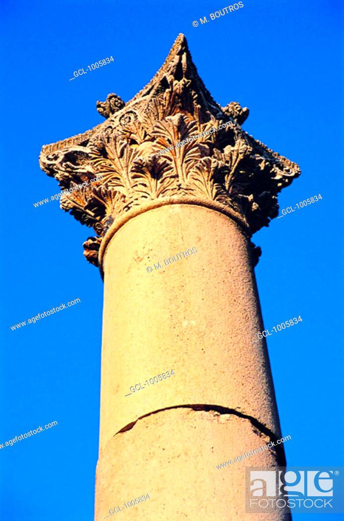 Stock Photo: Column of the Temple of Artemis, Jerash, Jordan.