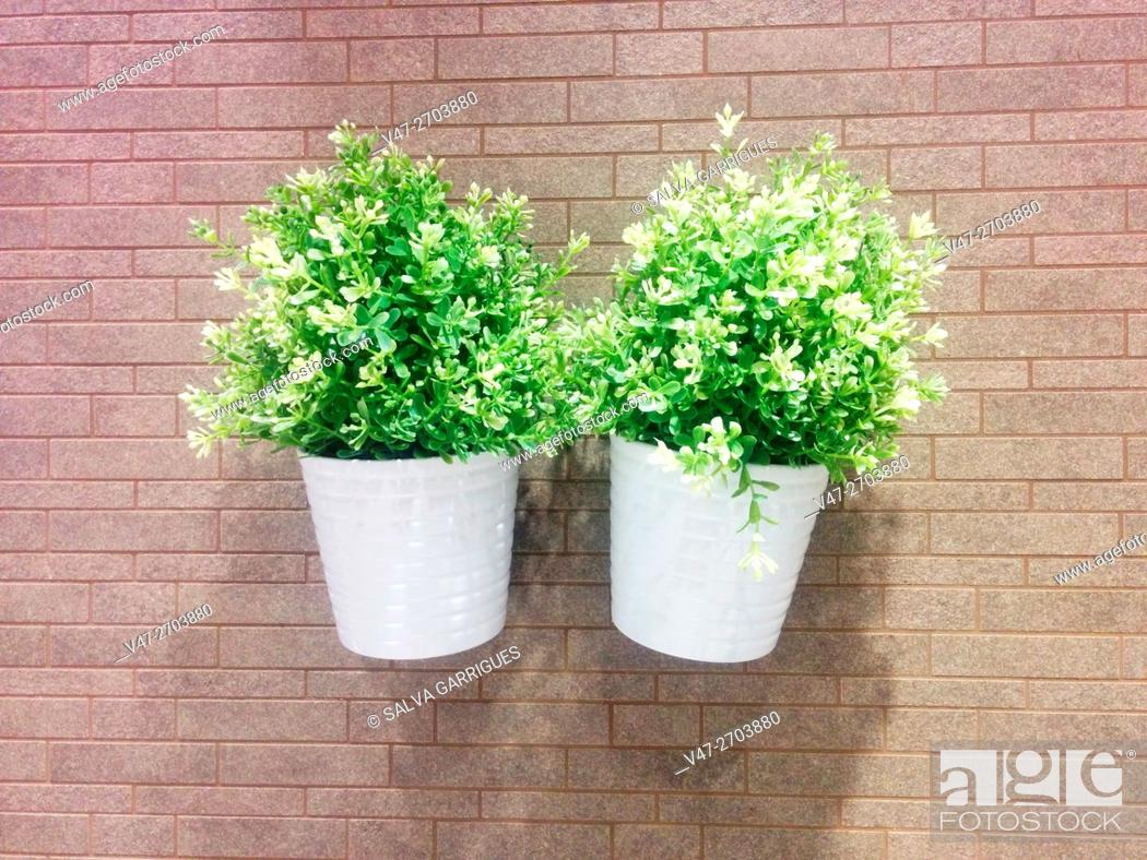Imagen: Two pots with plastic plants hanging on a wall.