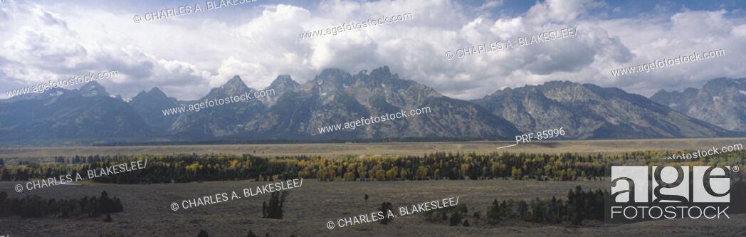 Stock Photo: Clouds over Grand Teton National Park WY.