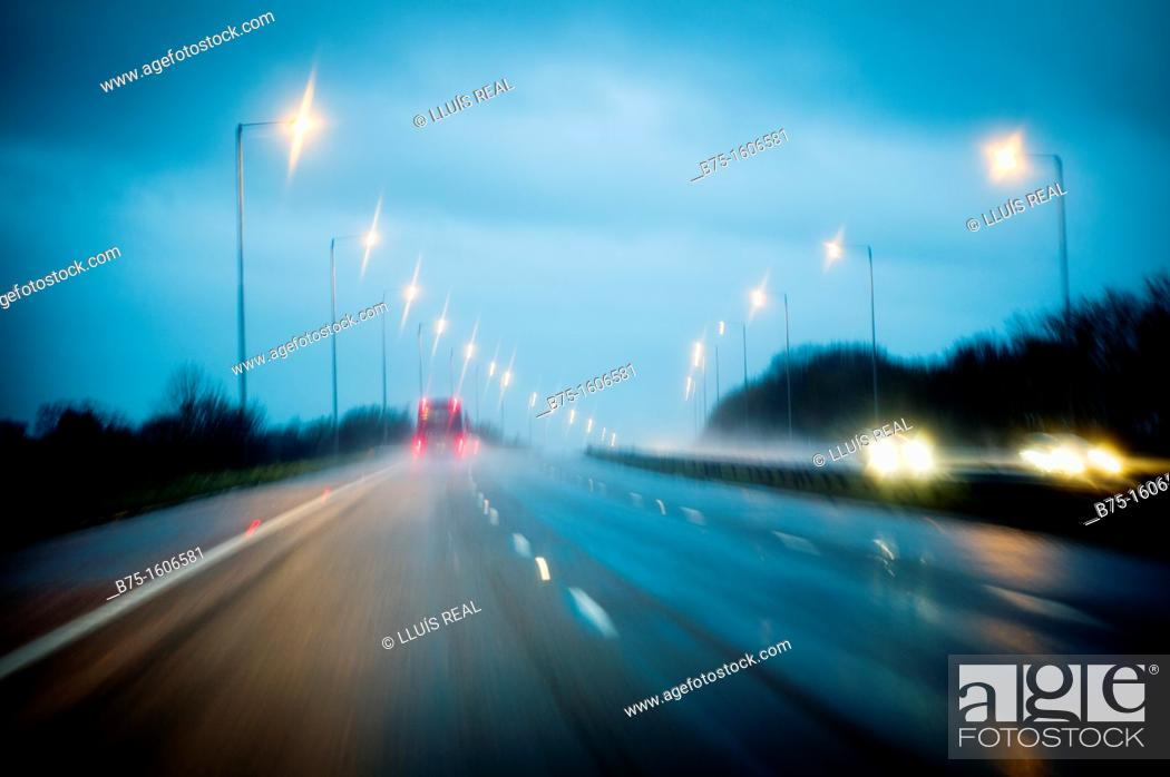 Stock Photo: road trip, night.