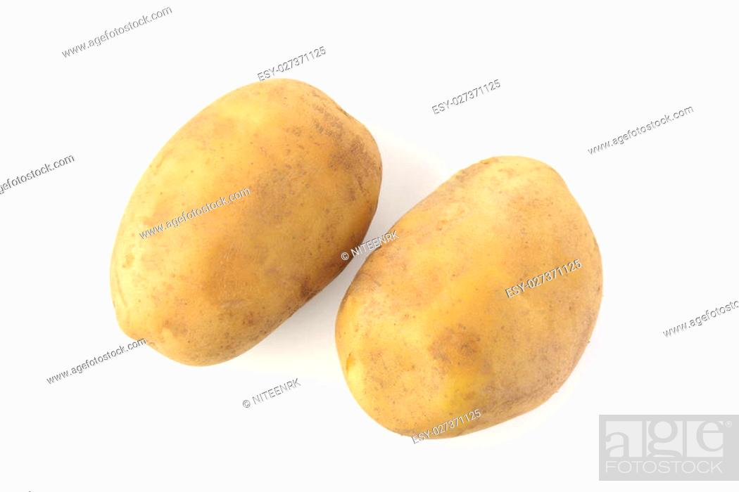 Stock Photo: High resolution image of two potatoes on white background shot in studio.