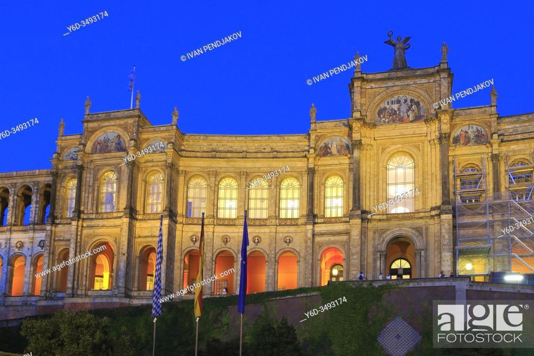 Stock Photo: Maximilianeum at Night, Munich, Germany.