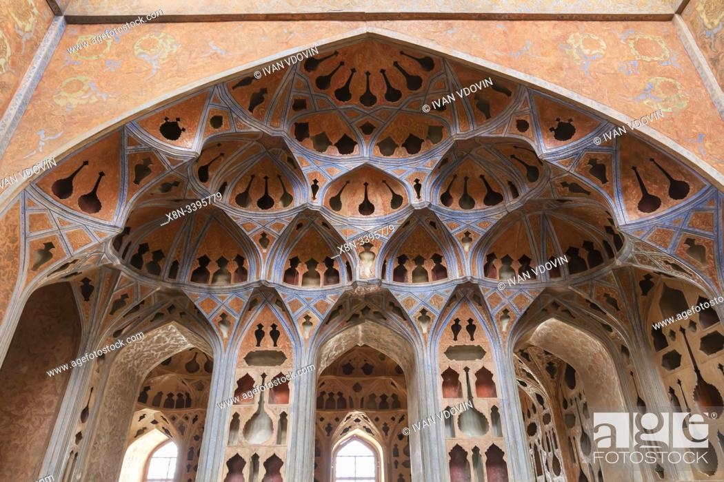 Stock Photo: Music Hall, Ali Qapu palace, Isfahan, Isfahan Province, Iran.