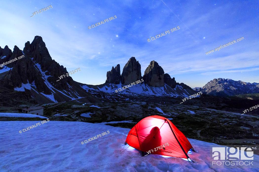 Stock Photo: Camping at the Three Peaks of Lavaredo . Sesto Dolomites Trentino Alto Adige Italy Europe.
