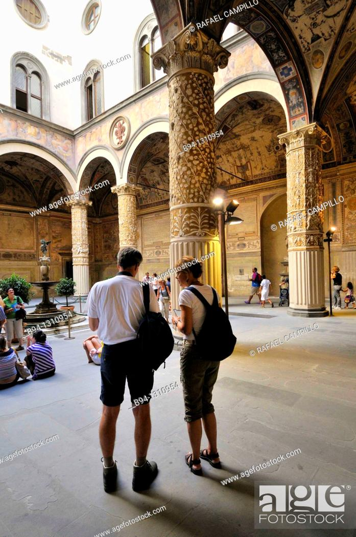 Stock Photo: Courtyard designed in 1453 by Michelozzo, Palazzo Vecchio ('old palace'), Florence, Tuscany, Italy.