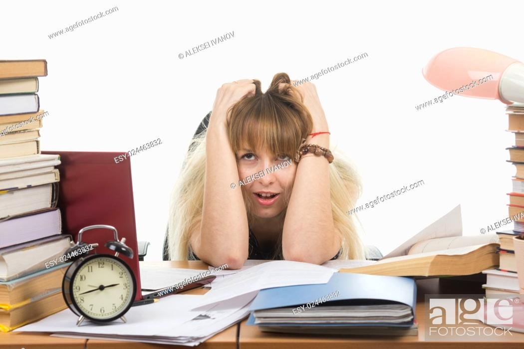 Stock Photo: The student is not feeling nervous tension.