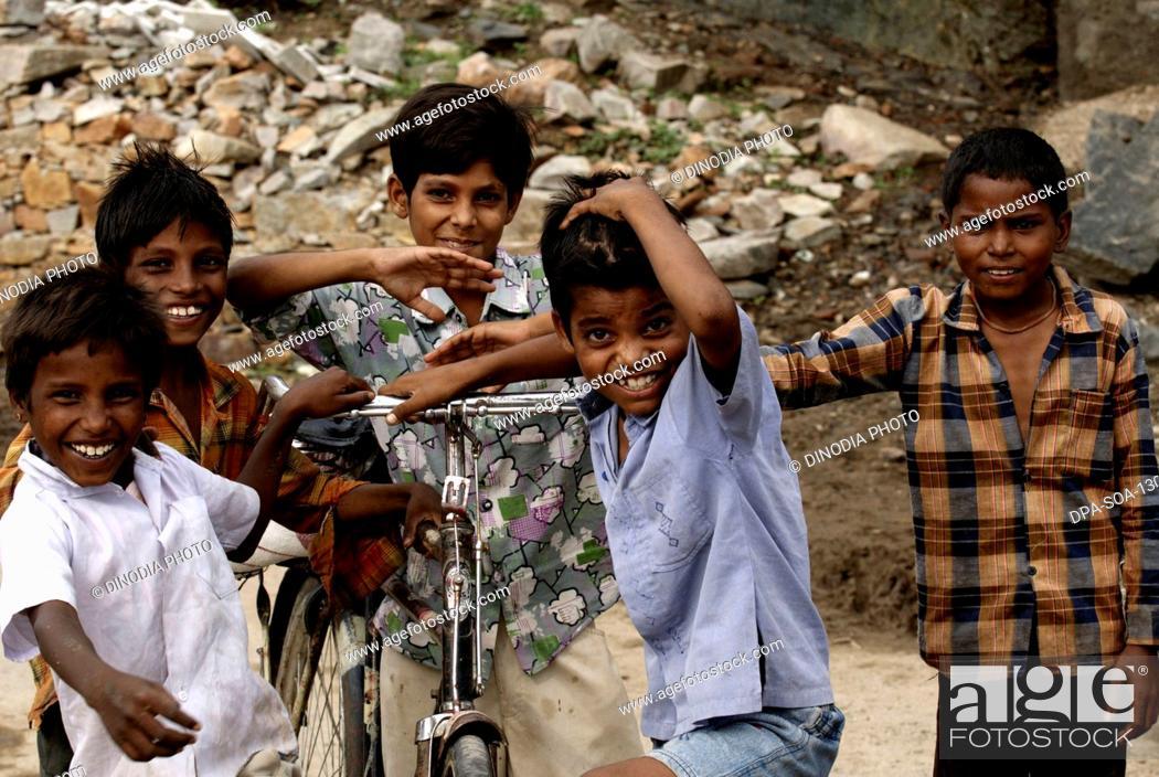 Stock Photo: Children playing ; Dilwara town ; Rajasthan ; India.