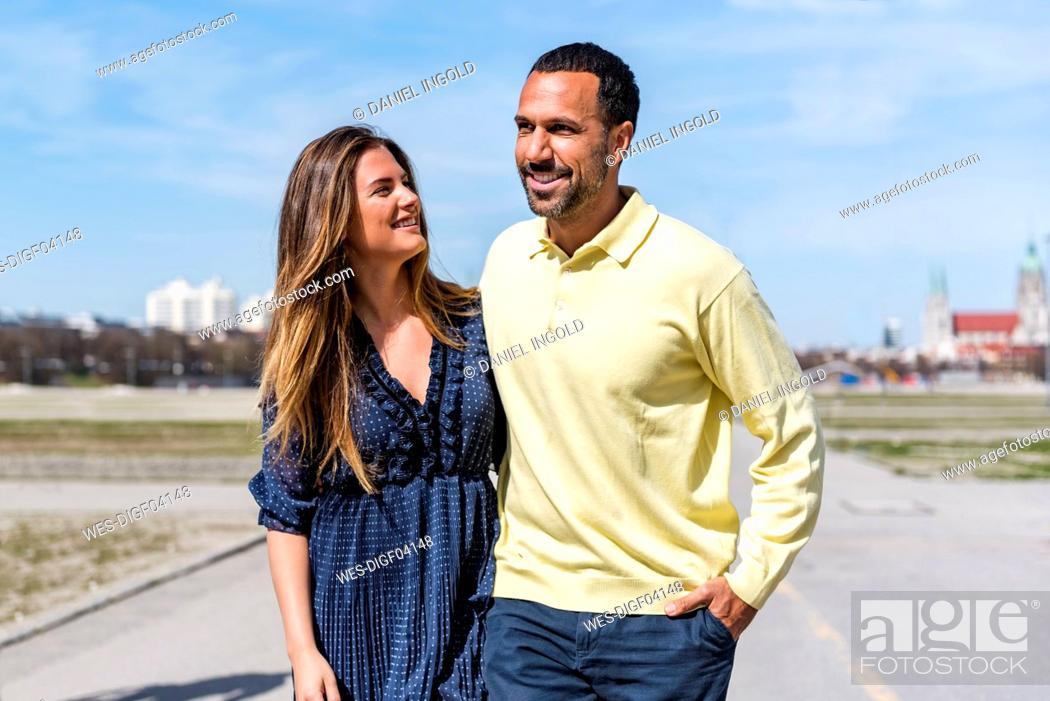Stock Photo: Happy couple on a walk.