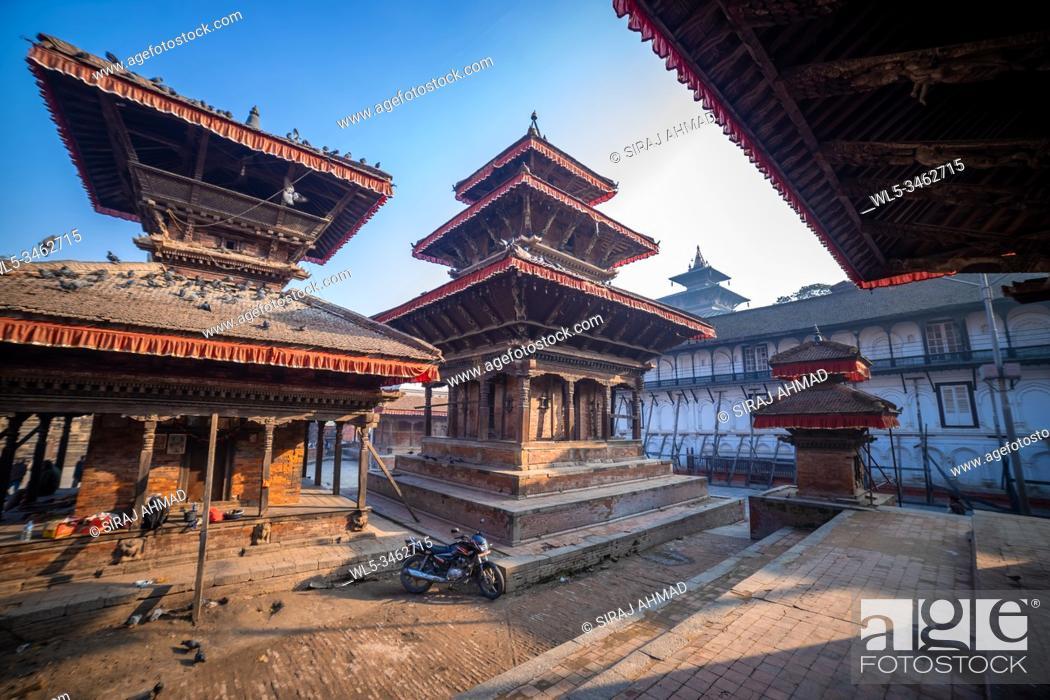 Stock Photo: Ancient temples at Kathmandu Durbar Square in Nepal.