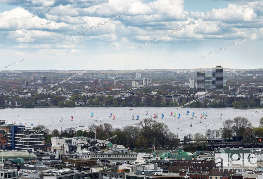 Stock Photo: Sailboats, Outer Alster Lake, view from The Michel, Hamburg, Germany.