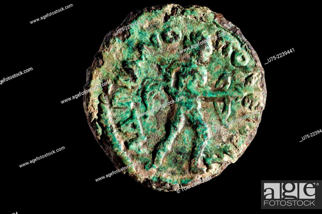 Stock Photo: 238-44 Provincial Roman coin of Godian 111 of Deultum, Thrace in studio setting.