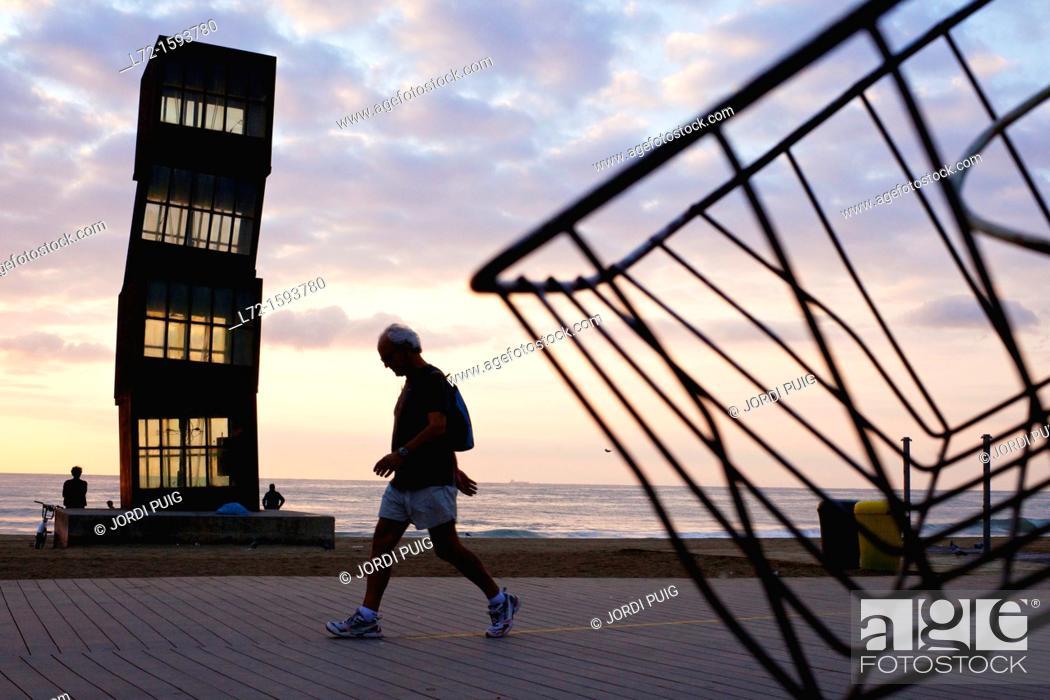 Stock Photo: Barceloneta beach, Barcelona, Catalonia, Spain.