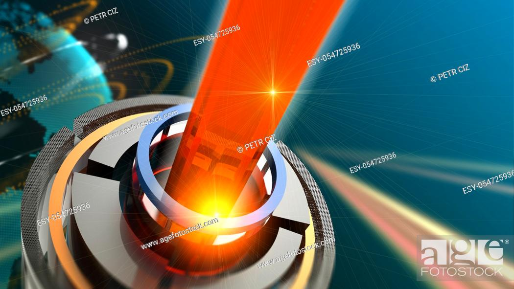 Stock Photo: Orange glowing quantum laser in space with beam.