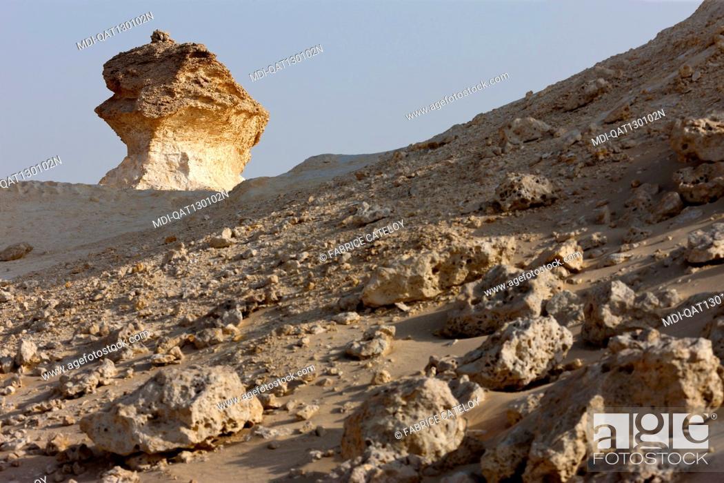 Stock Photo: Qatar - Around Zekreet - Limestone escarpments in the desert.