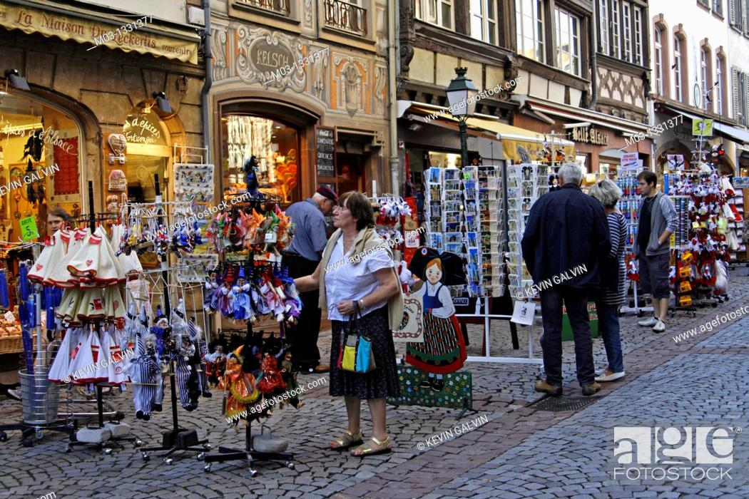 Stock Photo: Souvenirs in the Petite-France area, Strasbourg, Alsace, France.