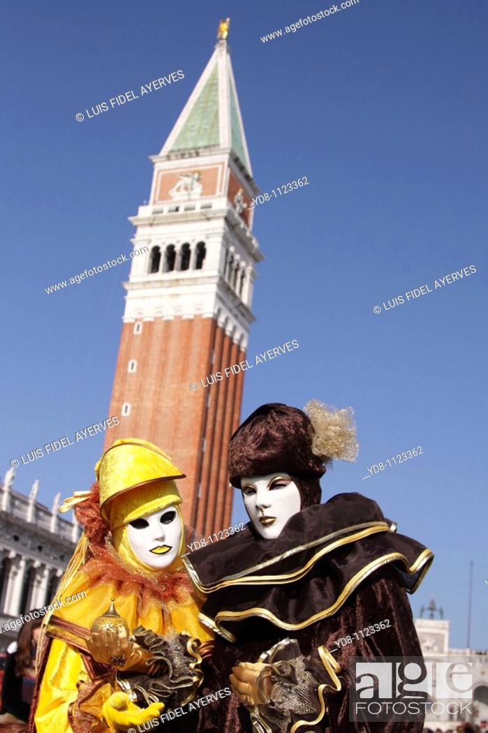 Stock Photo: Couple in Carnival Venice Italy 2010.