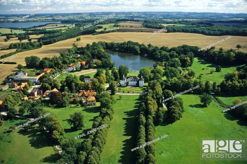 Stock Photo: aerial photo, manor, stately home, Kiel Bay, agriculture, countryside, rural, field, Schleswig Holstein, northern Germany.