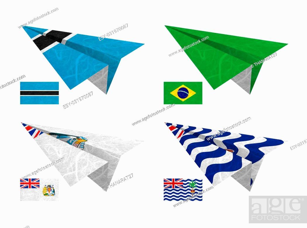 Stock Photo: Nation Flag. Airplane recycled paper on white background. ( Botswana , Brazil , British Antarctic Territory , British Indian Ocean Territory ).