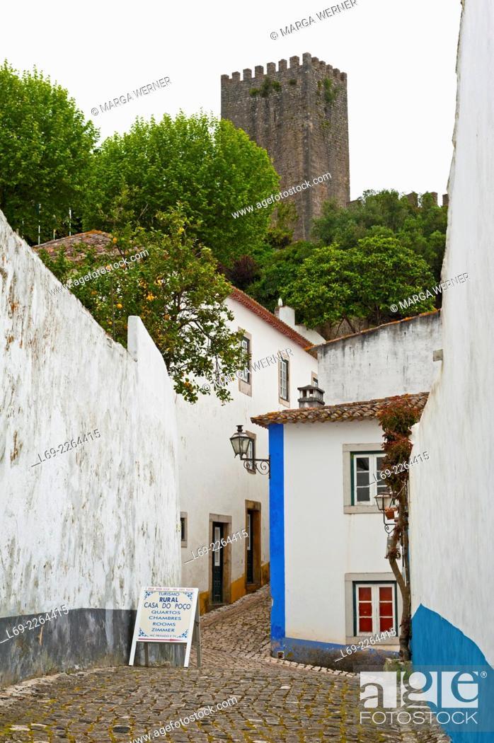 Stock Photo: Medieval old town of Obidos, Leiria District, Portugal, Europe.