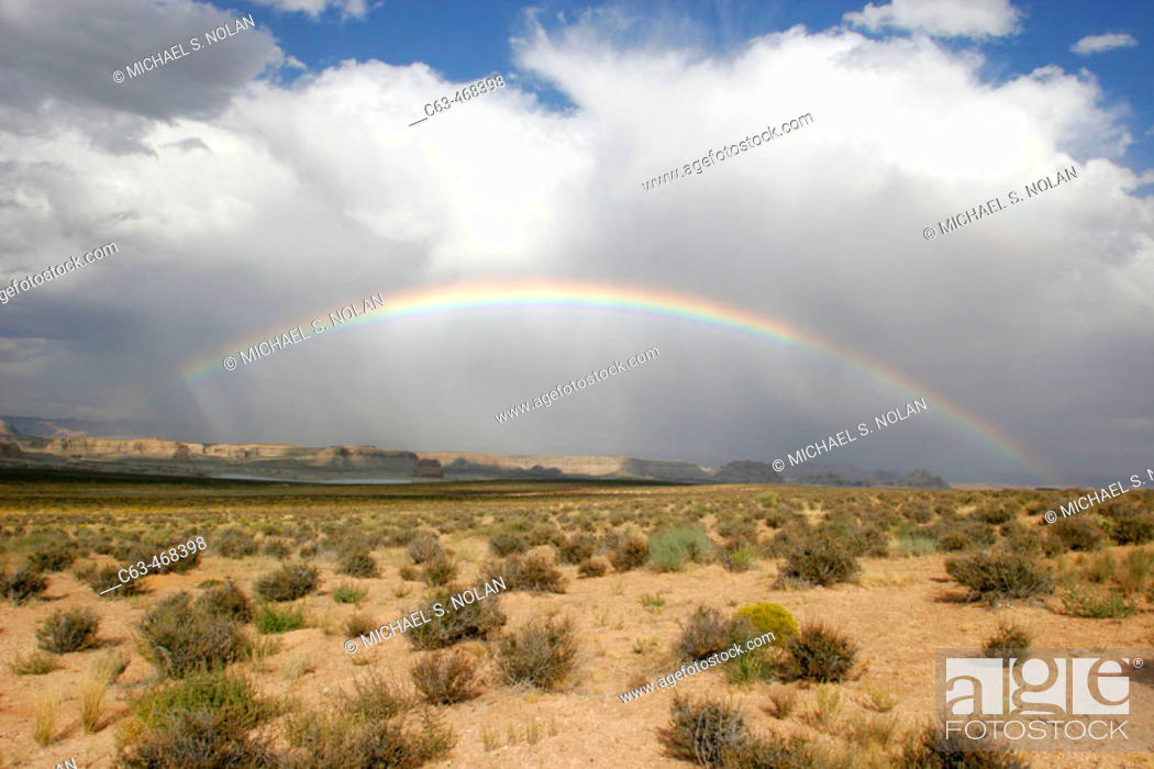 Stock Photo: A rainbow over the desert just outside Zion National Park, Utah, USA.