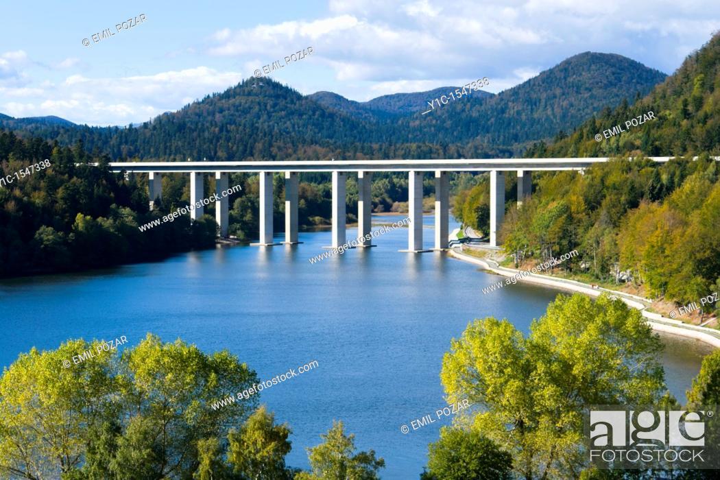 Stock Photo: Highway viaduct over Bajer lake near Fuzine in Croatia.