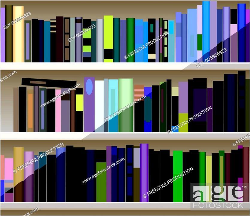 Stock Vector: vector bookshelf.