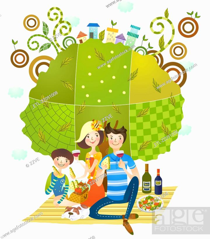Stock Photo: Family enjoying picnic, in the country side.