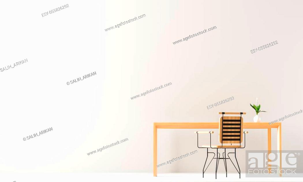 Stock Photo: Minimalist workspace design with wooden table and chair. Empty wall mock up in minimal interior design concept. 3D illustration.