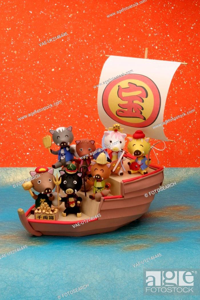 Stock Photo: The Wild Boar Of Seven Lucky Gods Who Took The Treasure Ship.