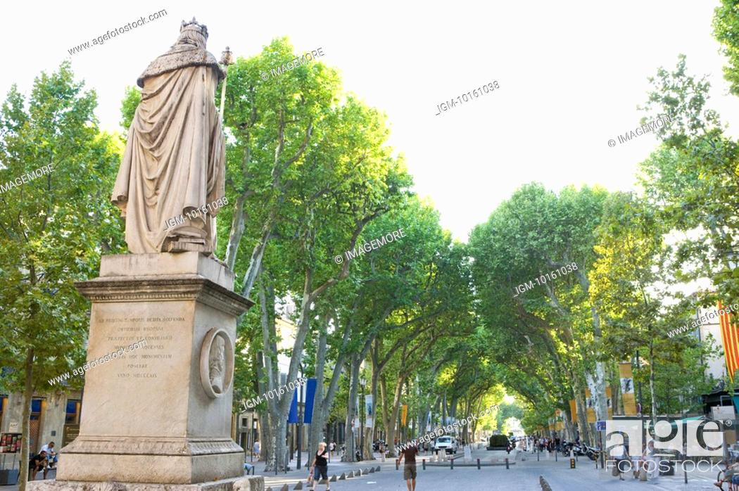 Stock Photo: Cours Mirabeau in Aix-en-Provence, Provence-Alpes-Cote d'Azur, France.