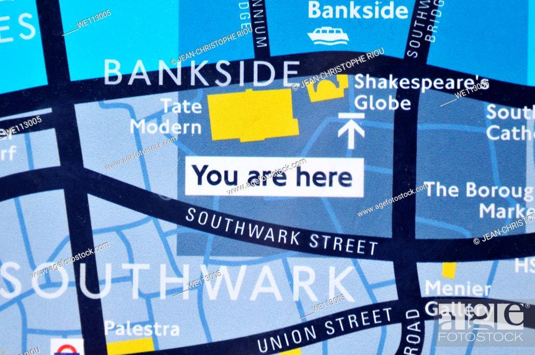 Photo de stock: Detail of map, London, England, UK.