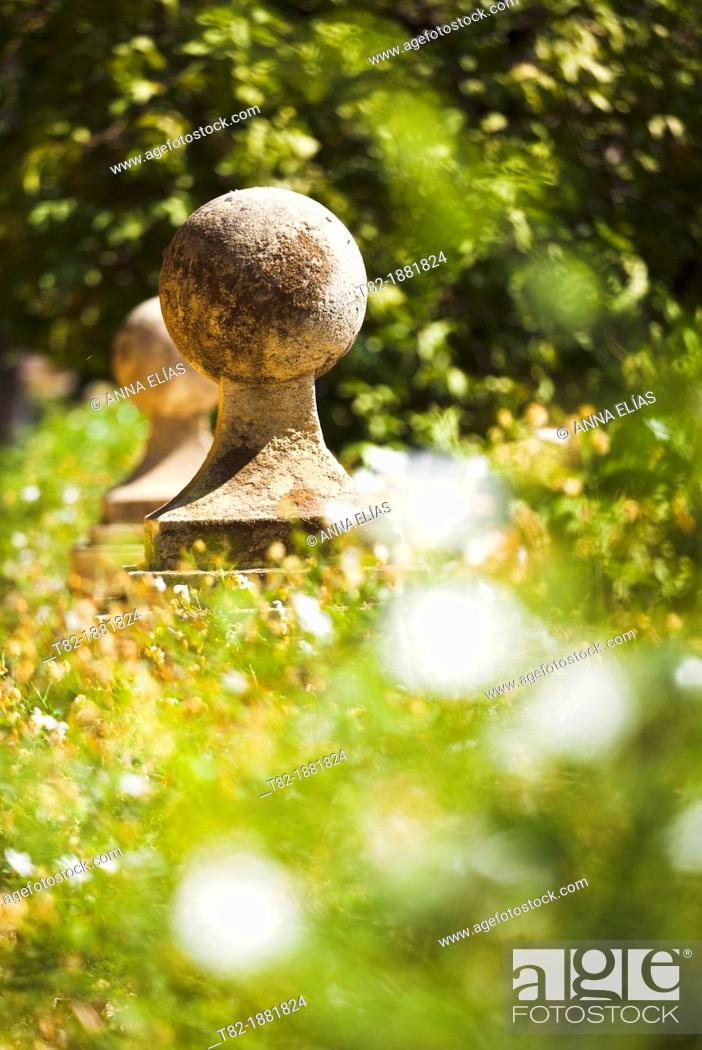 Stock Photo: detail of stone with plants in the gardens of the Alcazar, Sevilla, Andalucia, Spain.