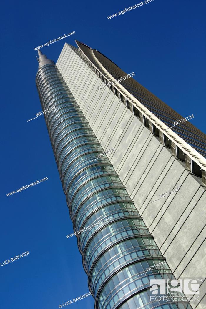 Stock Photo: Porta Nuova Garibaldi Tower designed by Cesar Pelli, Gae Aulenti square, Milan - Italy.