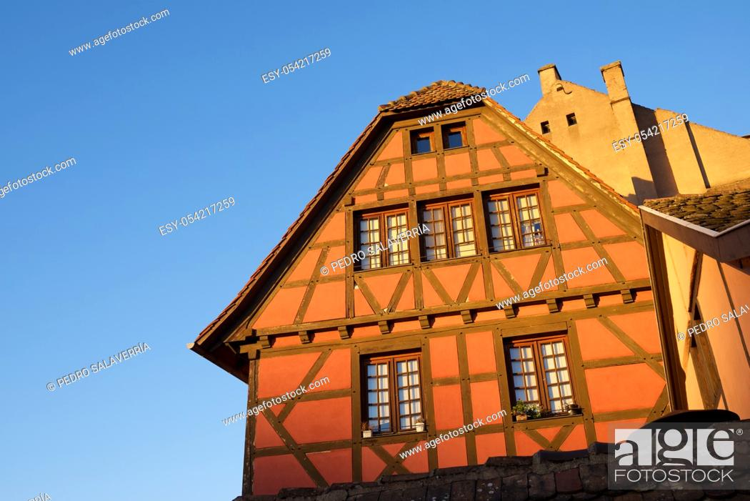 Stock Photo: Facade of a typical house in the old town of Strasbourg, France.