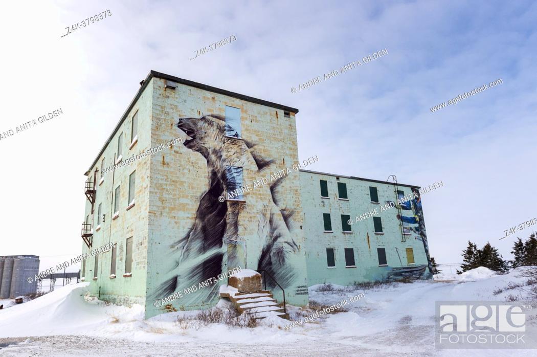 Imagen: Polar bear painting on ancient building, Churchill, Manitaba, Canada.
