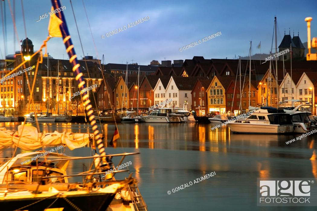 Stock Photo: Houses in the old pier, Bryggen, Bergen, Hordaland, Norway.