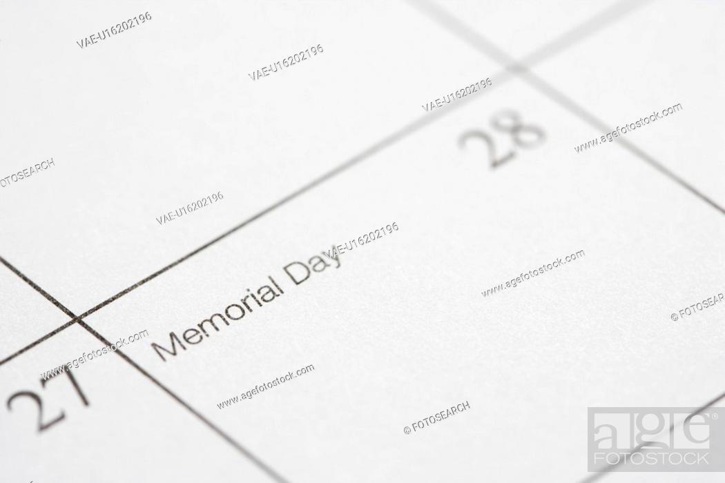 Stock Photo: Close up of calendar displaying Memorial Day.
