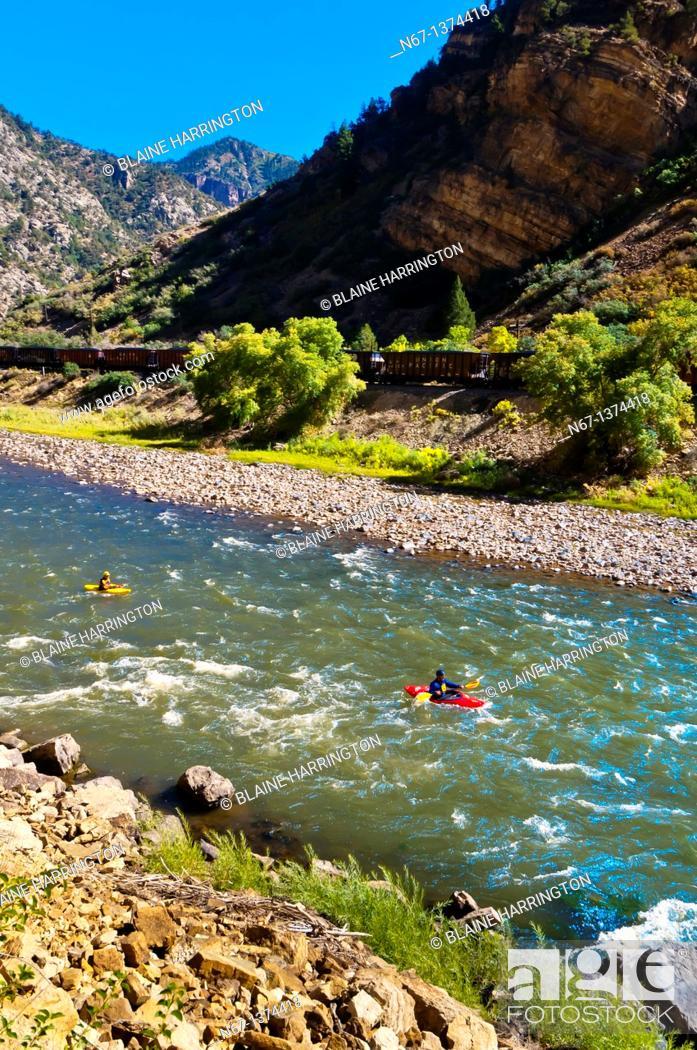 Stock Photo: Kayaking on the Colorado River in Glenwood Glenwood Springs, Colorado USA.