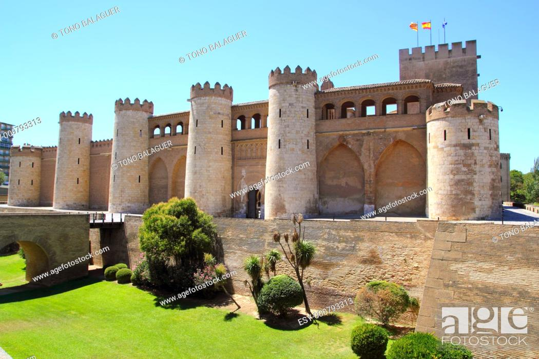 Stock Photo: Aljaferia palace castle in Zaragoza Spain Aragon outdoor blue sky.