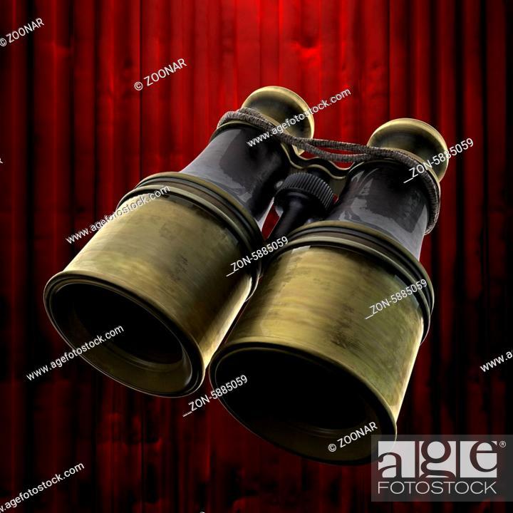 Stock Photo: retro binocular and red curtain.