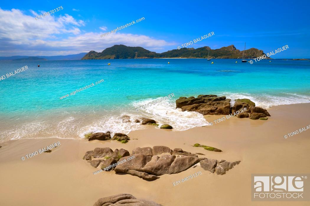 Stock Photo: Nostra Senora beach in Islas Cies islands of Vigo at Spain.