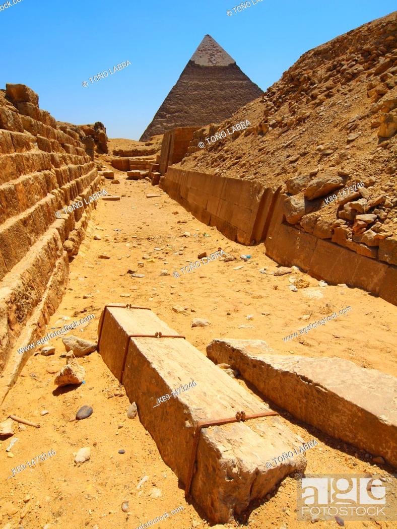 Stock Photo: Kefren pyramid. Giza. Cairo. Egypt.