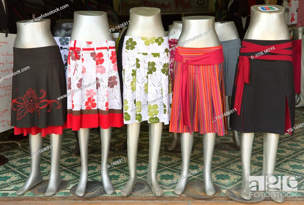 Stock Photo: Skirts for sale in a clothes shop, Hoi An, Quang Nam Province, Vietnam.