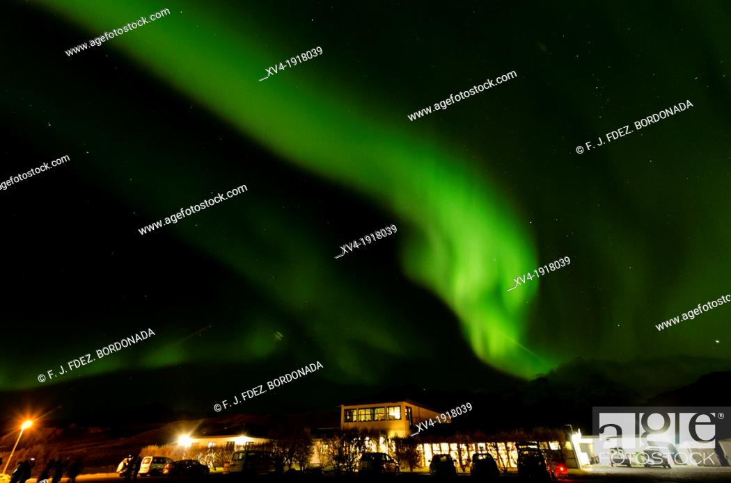 Stock Photo: Northern lights in Skaftafell National Park, East of Iceland.