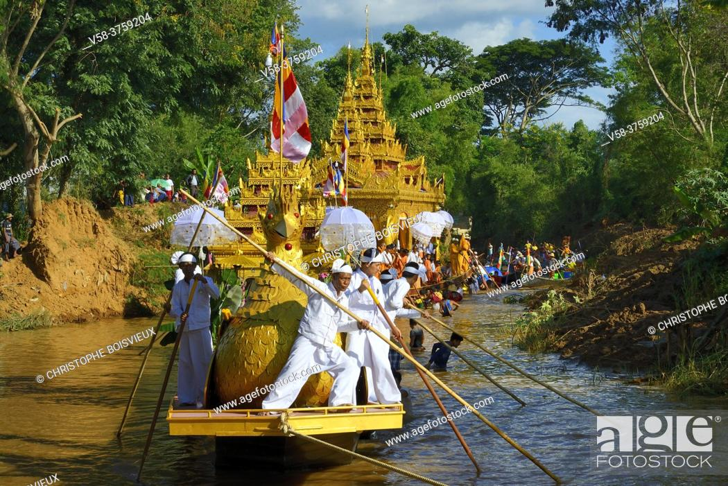 Stock Photo: Myanmar, Shan State, Inle Lake festival, Procession of the royal barge halfway between In Phaw Khone and Yethar villages.
