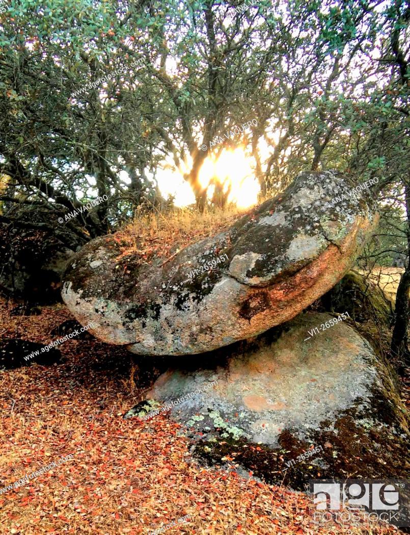 Stock Photo: Prehistoric altar, Cancho Gordo, near Escurial, Extremadura, Spain.
