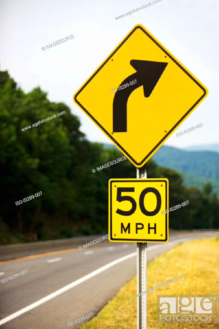 Stock Photo: Curve in the road.