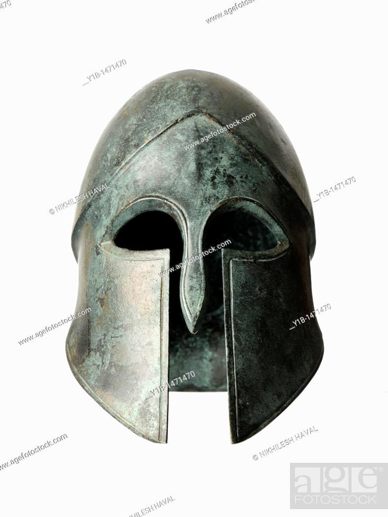 Stock Photo: Bronze sculpture helmet visor.