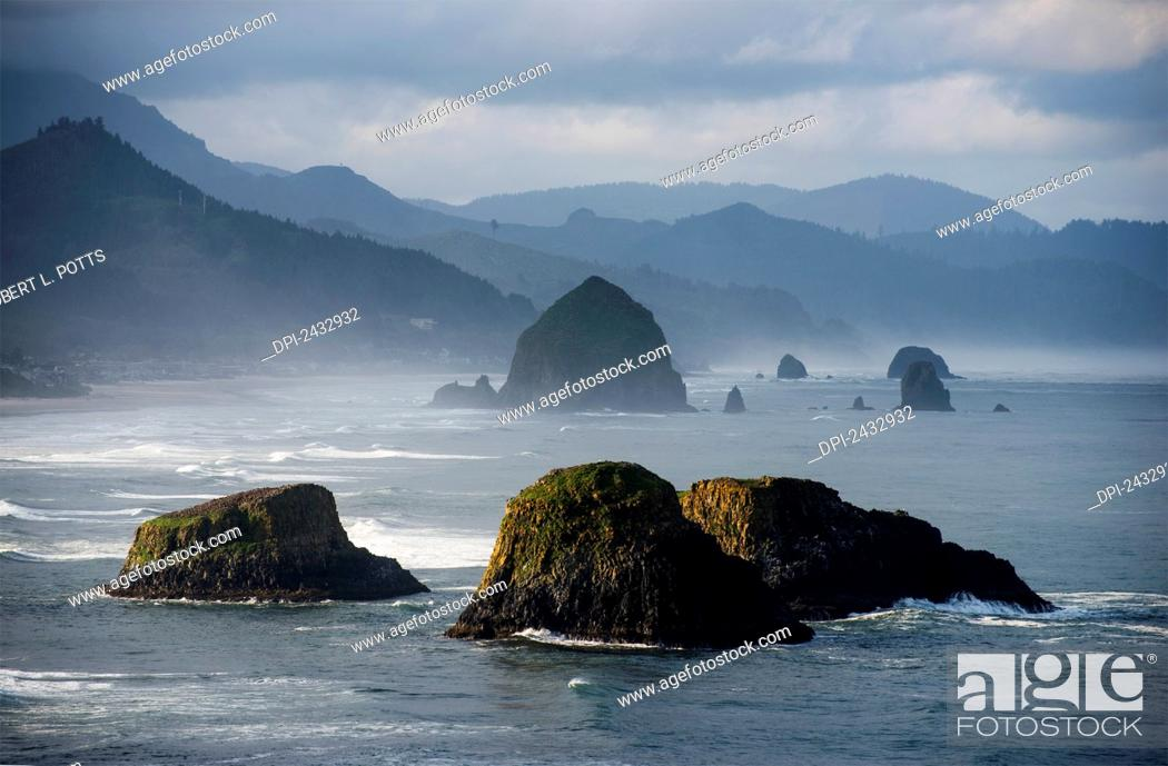 Stock Photo: Spectacular coastal scenery is found at Ecola State Park; Cannon Beach, Oregon, United States of America.