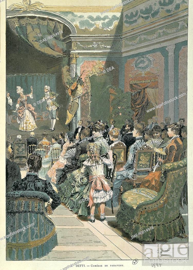 Stock Photo: A. Detti, Comedie de paravent, 1885. Illustration.  Paris, Bibliothèque Des Arts Decoratifs (Library).